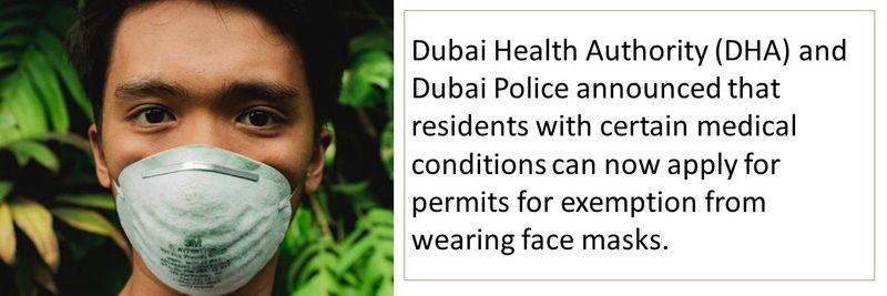 Dubai Health Authority (DHA) and Dubai Police announced that residents with certain medical conditions can now apply for permits for exemption from wearing face masks.