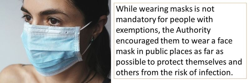 While wearing masks is not mandatory for people with exemptions, the Authority encouraged them to wear a face mask in public places as far as possible to protect themselves and others from the risk of infection.