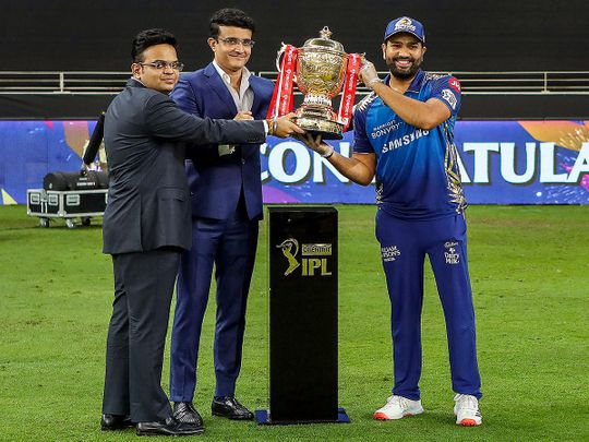 BCCI President Sourav Ganguly and BCCI Secretary Jay Shah present the Indian Premier League (IPL) 2020 winners trophy to Mumbai Indians captain Rohit Sharma