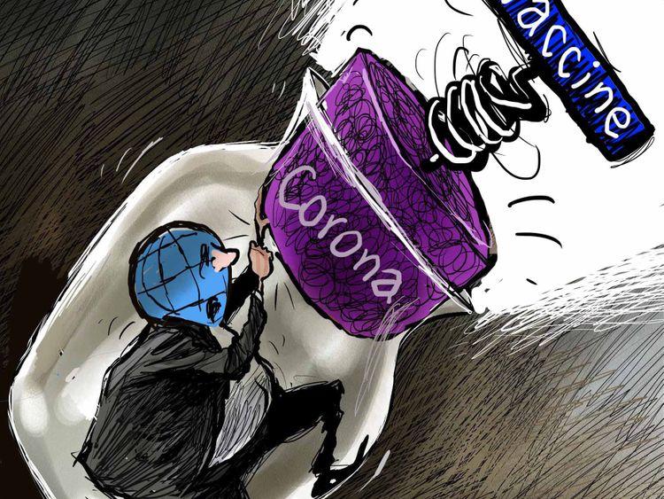 Cartoon: News of Pfizer BioNtech COVID-19 vaccine comes as a relief to the  world   Cartoons – Gulf News