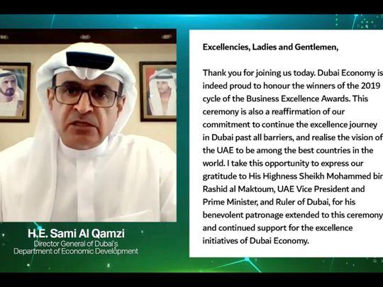 Sami Al Qamzi, Director General of Dubai Economy, t
