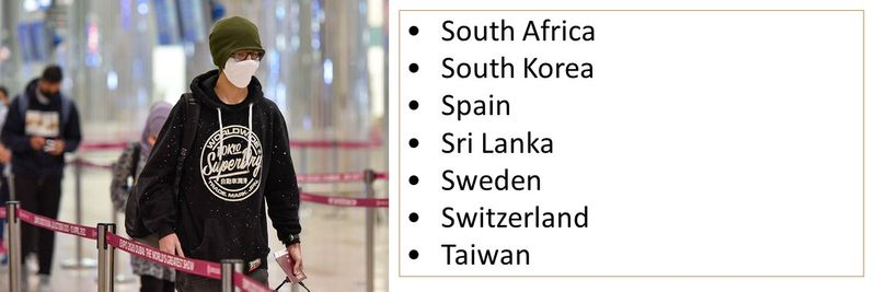 •South Africa •South Korea •Spain •Sri Lanka •Sweden •Switzerland •Taiwan