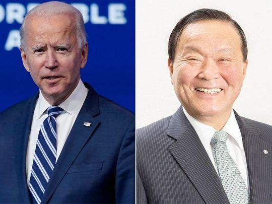 Joe Biden and Mayor Yutaka Umeda  Baiden