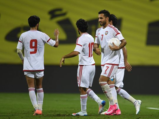Ali Mabkhout scored twice in the win over Tajikistan