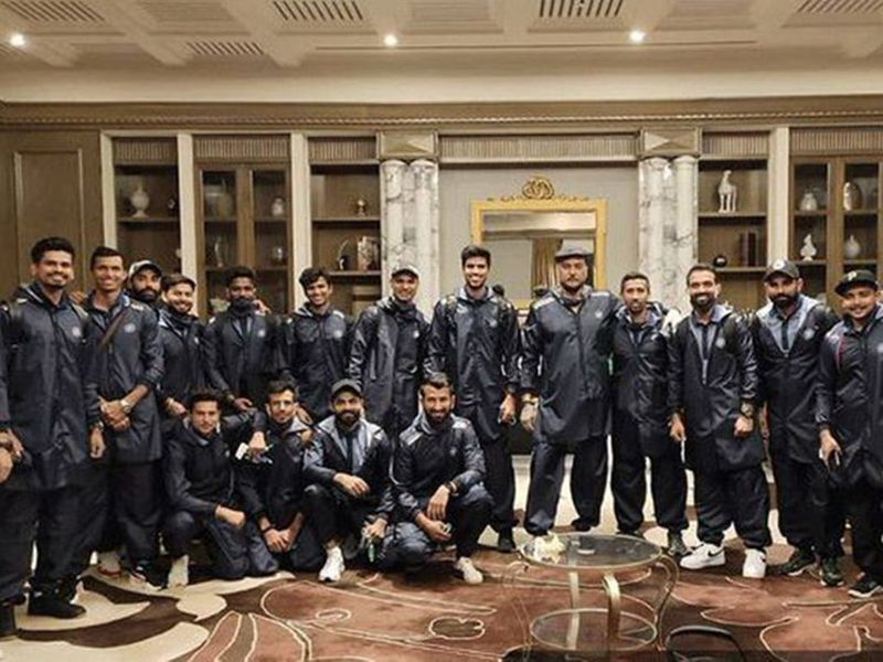 Team India, along with Head Coach Ravi Shastri, get snapped at their Dubai hotel before their departure for Australia.
