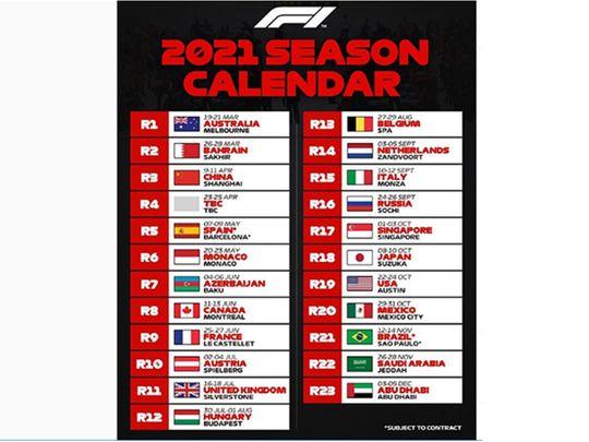 The 2021 official Formula One calendar