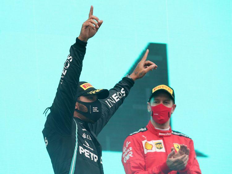 Lewis Hamilton celebrates in Turkey