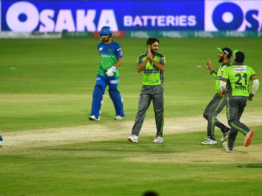 Lahore Qalandars' Haris Rauf bowled Multan Sultan's Shahid Afridi for a duck in the Pakistan Super League