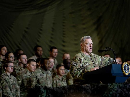 General Mark Milley, chairman of the Joint Chiefs of Staff, troops Bagram Afghanistan
