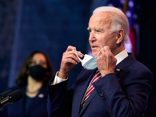 US President-elect Joe Biden, accompanied by Vice President-elect Kamala Harris