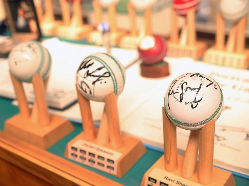 Veteran businessman and cricket aficionado Shyam Bhatia showcases his memorabilia and collectibles in his cricket museum in Dubai on 24th October, 2020.