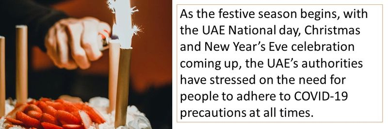 As the festive season begins, with the UAE National day, Christmas and New Year's Eve celebration coming up, the UAE's authorities have stressed on the need for people to adhere to COVID-19 precautions at all times.