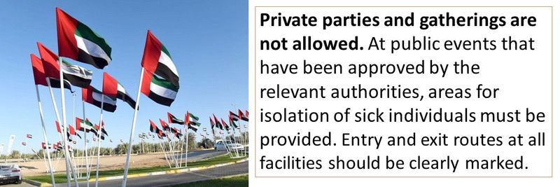 Private parties and gatherings are not allowed. At public events that have been approved by the relevant authorities, areas for isolation of sick individuals must be provided. Entry and exit routes at all facilities should be clearly marked.