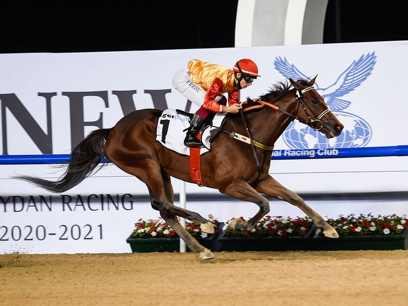 Antonio Vivaldi, ridden by jockey Antonio Fresu and trained by Musabeh al Muheiri, wins the getthat.com race