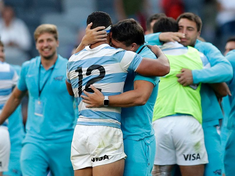 Argentina players cry after defeating the New Zealand All Blacks for the first time
