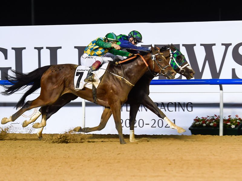 Casey Jones (front), ridden by jockey Antonio Fresu, wins the gulfnews.com race at Meydan