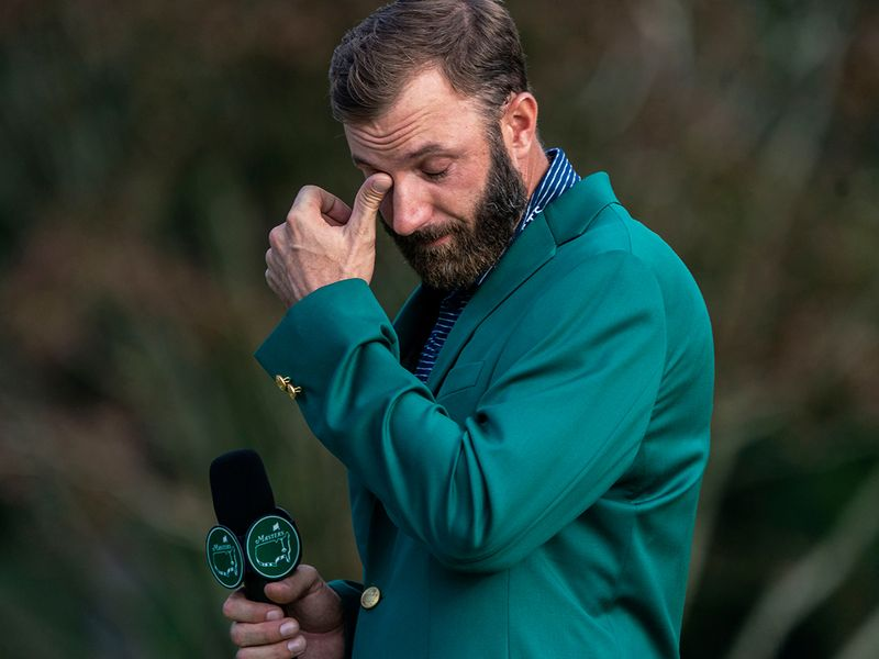Dustin Johnson in tears after winning masters