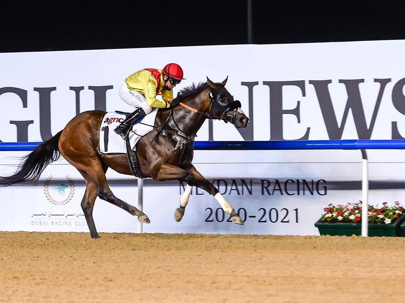 Lavaspin, ridden by jockey Tadhg O'Shea, wins the agnc3 race at Meydan