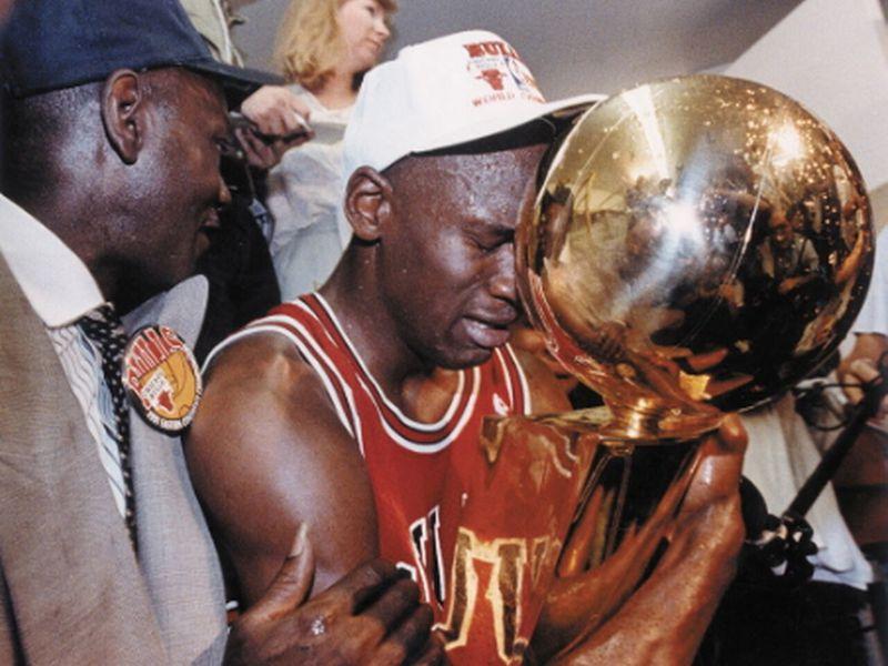 Michael Jordan with the NBA trophy in 1991