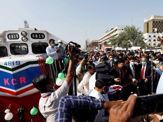 Pakistan's Railways Minister Sheikh Rasheed Ahmed Karachi circular railway