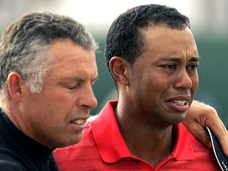 Tiger Woods cries after winning The Open in 2006