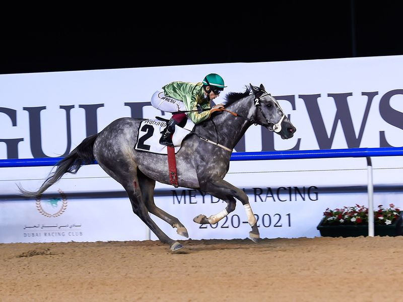 Welsh Lord, ridden by jockey Antonio Fresu, wins the WatchTime race at Meydan