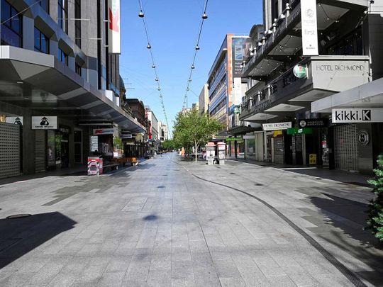 Australia deserted covid rundle mall adelaide