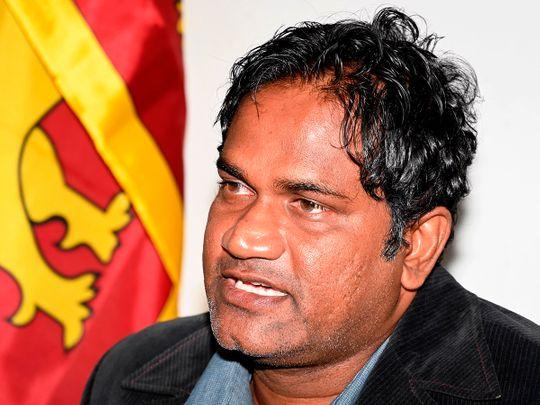 Nuwan Zoysa speaks to the press
