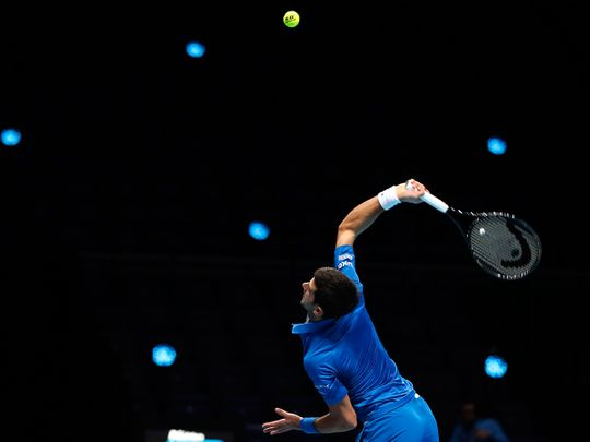 Novak Djokovic in action at the ATP Finals in London