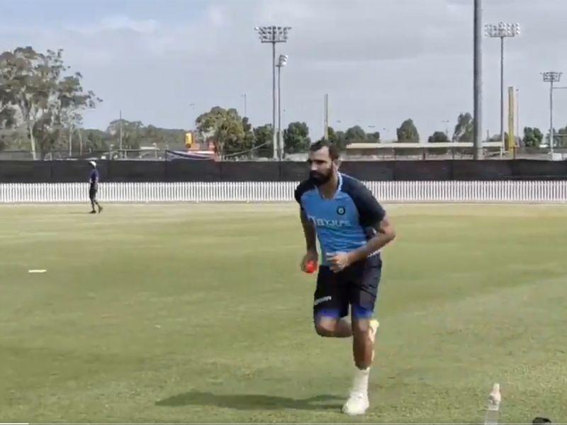 India's Mohammad Shami practises in Australia