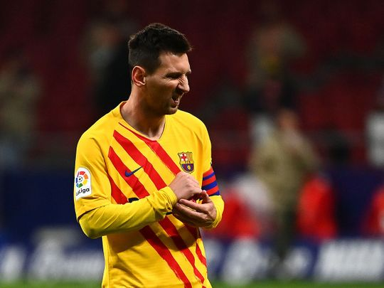Lionel Messi during the defeat to Atletico Madid