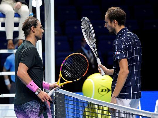 Rafael Nadal congratulates Daniil Medvedev at the ATP Finals