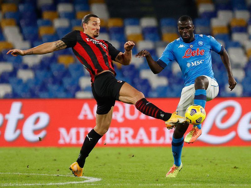AC Milan's Zlatan Ibrahimovic against Napoli