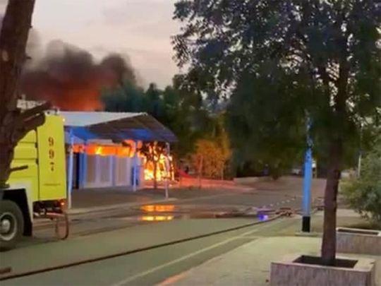Fire erupted in Dubai