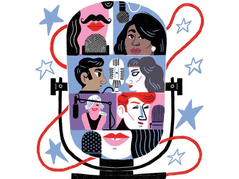 Celebrity podcasts illustration