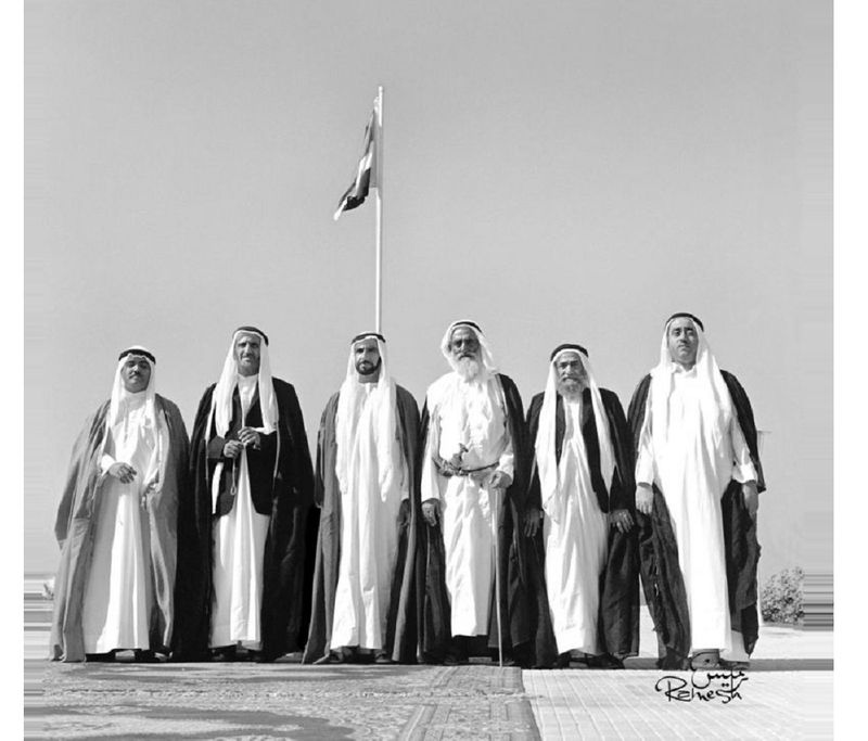 December 2, 1971: UAE Founding Father Sheikh Zayed and UAE rulers at Union House in Dubai: (From left) Sheikh Khalid Al Qasami, Ruler of Sharjah; Sheikh Zayed Bin Sultan Al Nayhan, President of the UAE and Ruler of Abu Dhabi; Sheikh Rashid Bin Saeed Al Maktoum, Vice President of the UAE and Ruler of Dubai; Sheikh Rashid Al Nuami, Ruler of Ajman; Sheikh Mohammed Al Sharqi, Ruler of Fujairah; and Sheikh Ahmed Al Mualla, Ruler of Umm Al Quwain.