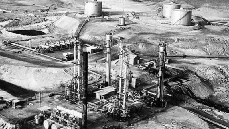 The production unit at Das Island in Abu Dhabi in the 1960s. Courtesy Total