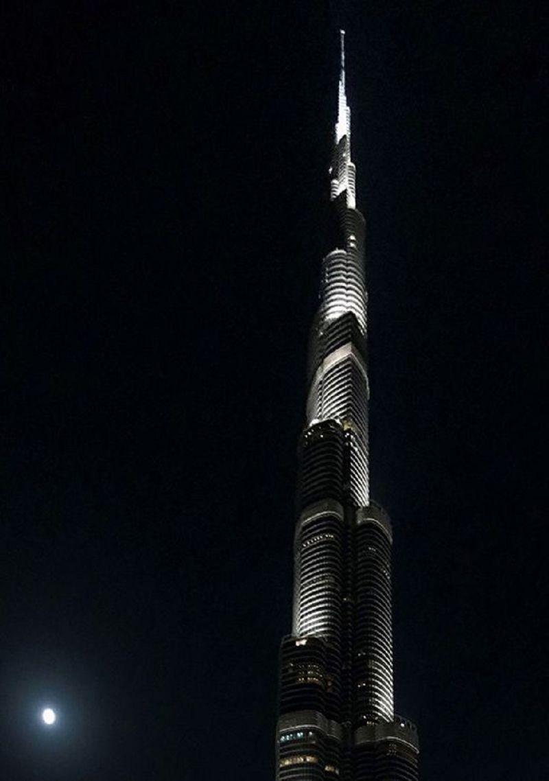 Burj Khalifa at night.