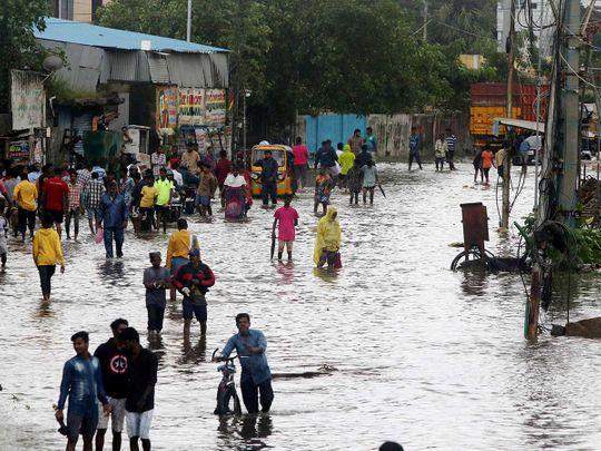 Chennai Nivar flooded street
