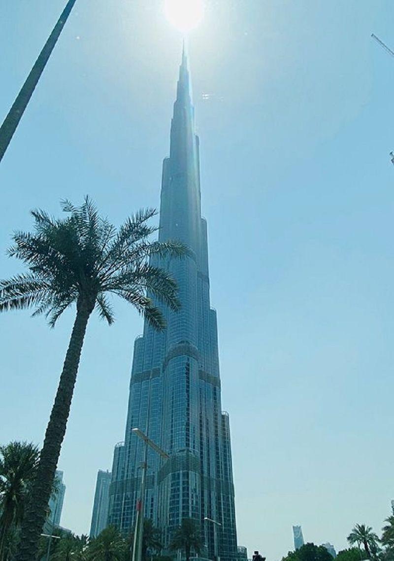 Sun atop Burj Khalifa in Dubai.