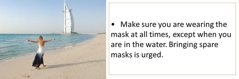 •	Make sure you are wearing the mask at all times, except when you are in the water. Bringing spare masks is urged.