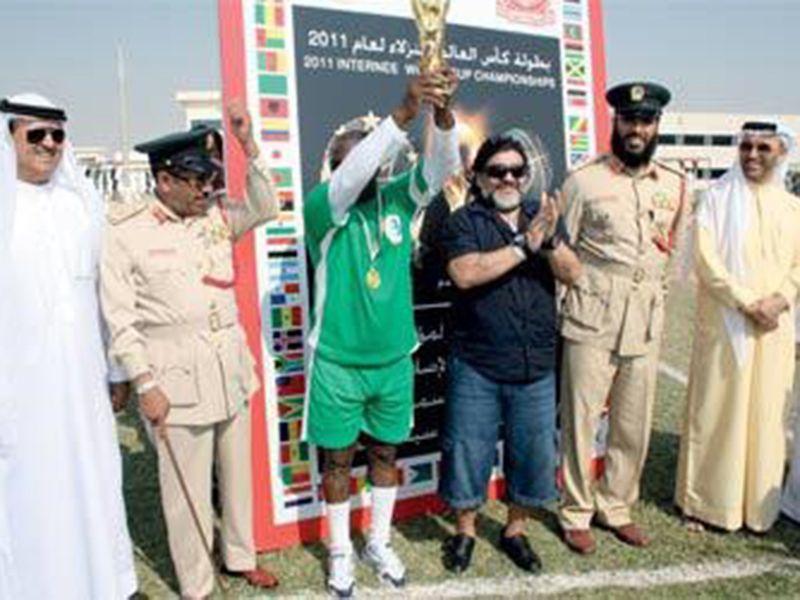 Diego Maradona at the trophy presentation at Dubai Central Prison in 2011