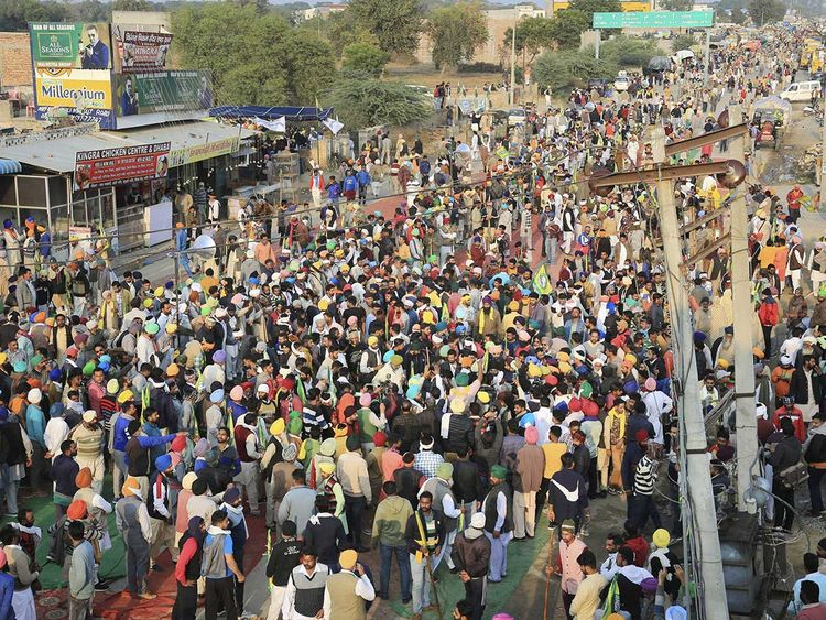 India farmers clash with police to protest new laws | India – Gulf News