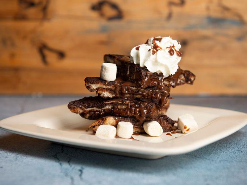Hot chocolate French toast with mocha chocolate ganache