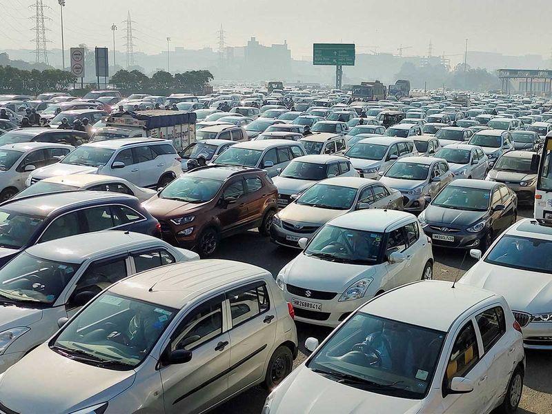Delhi farmer protest traffic jam