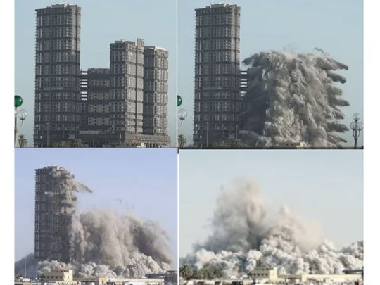 The explosion that razed the four towers of Mina Zayed to the ground on Friday morning