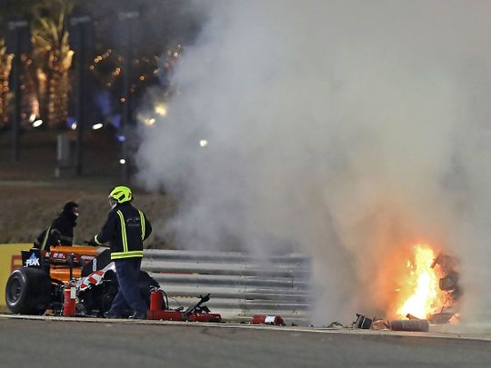 Kyvat's car burst into flames on the opening lap of the Bahrain Grand Prix