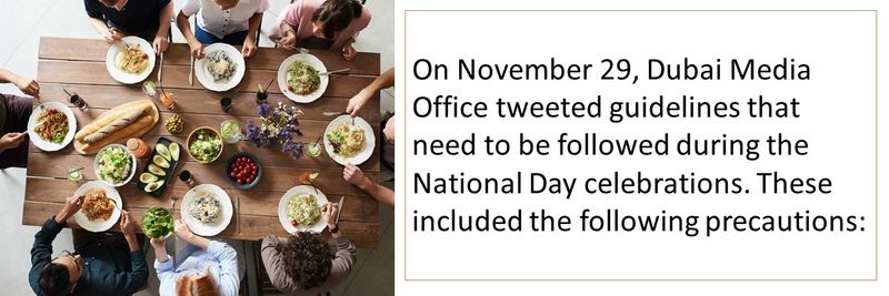 On November 29, Dubai Media Office tweeted guidelines that need to be followed during the National Day celebrations. These included the following precautions: