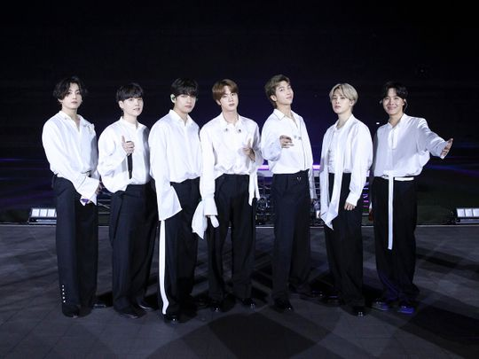 South Korean band BTS performs for the 2020 American Music Awards