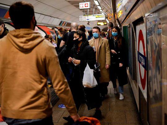 UK tube metro covid mask